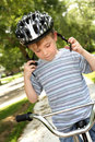 Young boy on a bike Royalty Free Stock Photography
