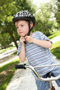 Young boy on a bike Stock Image