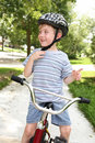 Young boy on a bike Royalty Free Stock Photo