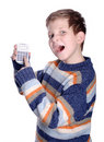 Young boy with calculator Stock Photo