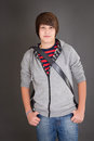 Young boy in casual look with his slingbag puberty Royalty Free Stock Images