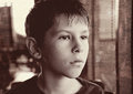 Young boy child black and white gazing Royalty Free Stock Photo