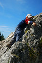 Young boy climbing Royalty Free Stock Photo