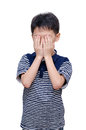 Young boy close his face by hands Royalty Free Stock Photo
