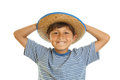 Young Boy in Cowboy Hat Stock Photo
