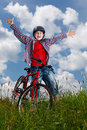 Young boy cycling Stock Photo