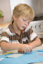 Young Boy Drawing Pictures Royalty Free Stock Images