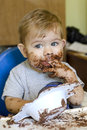 Young boy eating cake Stock Image