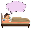A young boy with an empty thought while sleeping illustration of on white background Royalty Free Stock Photography