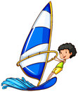 A young boy enjoying the watersport activity illustration of on white background Stock Images
