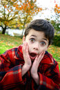 Young boy expression shock Royalty Free Stock Photo