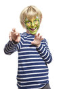 Young boy with face painting monster Royalty Free Stock Photo