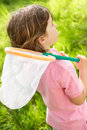 Young Boy In Field With Insect Net Royalty Free Stock Photo