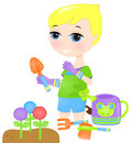 Young boy gardening illustration of Stock Images