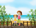 A young boy and a girl at the bridge near the beach illustration of Stock Photos