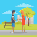 Young Boy and Girl in Love Stand on Park Path Royalty Free Stock Photo