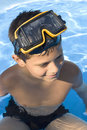 Young boy with goggles on Royalty Free Stock Photography