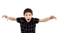 Young boy grimacing and scares isolated on white background Stock Images