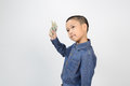 Young boy with happy and smile with american dollar Royalty Free Stock Photo