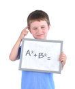 Young boy has math formula board blank answer thinking white isolated background Stock Photography