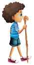 A young boy hiking illustration of on white background Stock Image