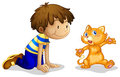 A young boy and his adorable kitten illustration of on white background Royalty Free Stock Photography