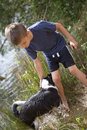 Young boy and his dog Royalty Free Stock Photo