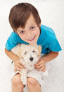 Young boy with his doggy Royalty Free Stock Photos