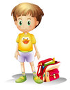 A young boy with his school bag illustration of on white background Royalty Free Stock Photo