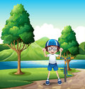 A young boy and his toy bike standing near the trees in the rive illustration of riverbank Royalty Free Stock Photos