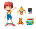 A young boy and his toys illustration of on white background Stock Photography