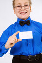 Young  boy holding an empty advertising card Royalty Free Stock Photo