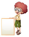 A young boy holding an empty frame illustration of on white background Stock Photos
