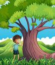 A young boy beside the huge tree illustration of Stock Photos