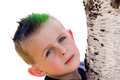 Young Boy Hugging Tree Royalty Free Stock Images