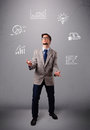 Young boy juggling with statistics and graphs Royalty Free Stock Photo