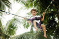 Young boy jumping bungee Royalty Free Stock Photography