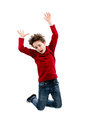 Young boy jumping isolated on white background Royalty Free Stock Photography