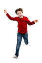 Young boy jumping isolated on white background Stock Image