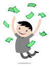 Young boy jumping for joy after winning money Royalty Free Stock Photo