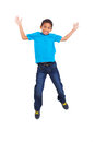 Young boy jumping lovely african american on white background Stock Image