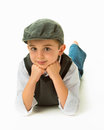 Young boy laying with head on hands Royalty Free Stock Photo