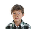 Young boy looks up to copy space Royalty Free Stock Image