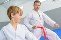 Young boy in martial arts lesson Royalty Free Stock Photo