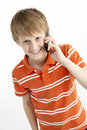 Young Boy With Mobile Phone Royalty Free Stock Photo