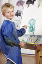 Young Boy Painting Royalty Free Stock Photo