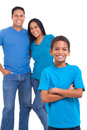 Young boy parents cute standing in front of his over white background Royalty Free Stock Photo