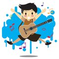 Young boy playing acoustic guitar Happy Love music abstract Royalty Free Stock Photo