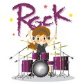 Young boy playing Drum set  Happy Love music color Rock Royalty Free Stock Photo