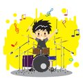 Young boy playing Drum set  Happy Love music color Royalty Free Stock Photo